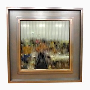 Espejo grande de metal y cristal ahumado, años 70