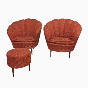 Italienische Sessel und Ottoman, 1950s