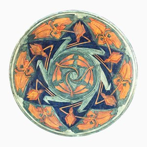 Large Art Deco Enameled Ceramic Platter by A. Kerkhofs, 1903