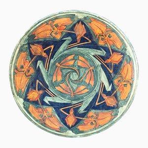Large Art Deco Enameled Ceramic Platter by A. Kerkhofs, 1903