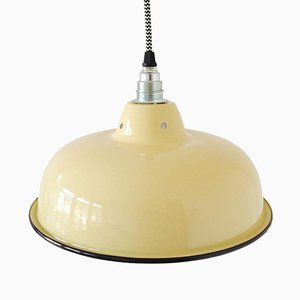 Vintage French Pastel Yellow Enameled Pendant Lamp
