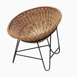 Mid-Century French Rattan Basket Chair, 1950s