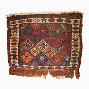 Antique Middle Eastern Handmade Bag Face Rug, 1880s