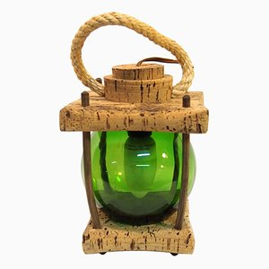 Mediterranean Cork Green Lantern Table Lamp, 1970s