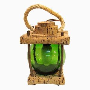 Mediterranean Cork Green Lantern Table Lamp, 1970s