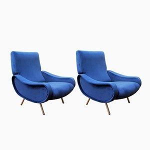 Mid-Century Königsblaue Sessel von Marco Zanuso für Arflex, 2er Set