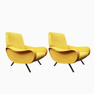 Mid-Century Senffarbene Sessel von Marco Zanuso für Arflex, 2er Set