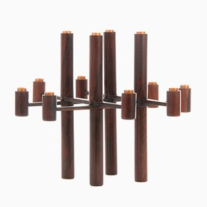 Scandinavian Rio Rosewood Folding Candle Holder from Laurits Jensen, 1950s