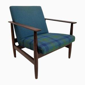 German Blue Teak Armchair by Walter Knoll, 1950s