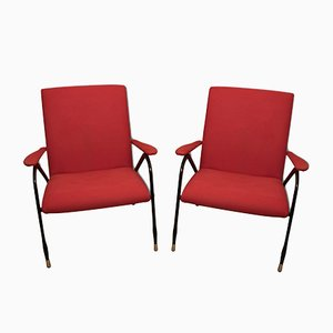 Red Italian Mid-Century Armchairs, 1960s, Set of 2