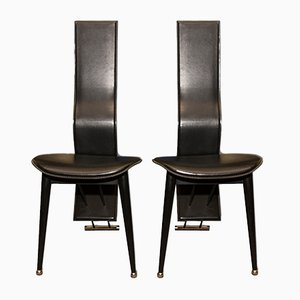 Italian Vintage High Back Leather Dining Chairs, 1980s, Set of 2