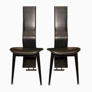 Italienische Vintage Leder Esszimmerstühle mit Hoher Rückenlehne, 1980er, 2er Set