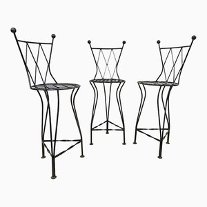 Italian Vintage Iron Bar Stools, 1970s, Set of 3