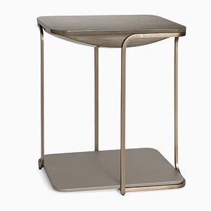 Tavolino Bohca placcato in ottone, 35x50