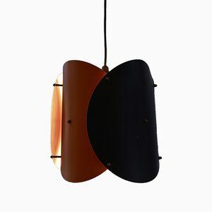 Deckenlampe in Schwarz & Orange, 1950er
