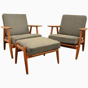 Armchairs and Ottoman by Hans J. Wegner for Getama, 1960s, Set of 3