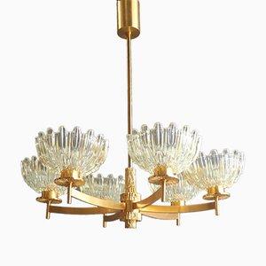 Lámpara de araña Mid-Century chapada en oro con seis brazos