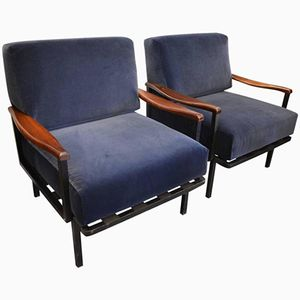 Mid-Century Italian Blue Vevlet Armchairs by Osvaldo Borsani for Tecno Milano, 1960s, Set of 2