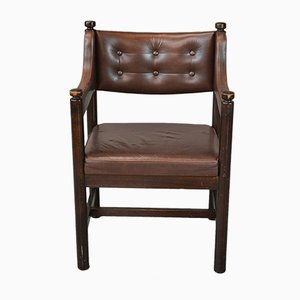 Vintage Swedish Brown Leather Study Chair from Gemla