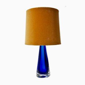 Blaue Glas Tischlampe von Venini, 1950er