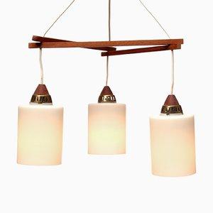 Lámpara colgante triangular de teca, años 60