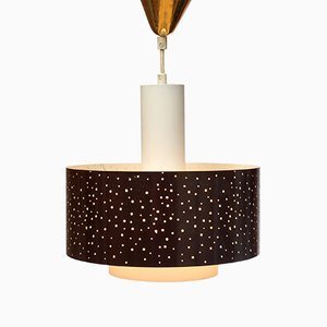 Lámpara colgante de opalina perforada, años 50