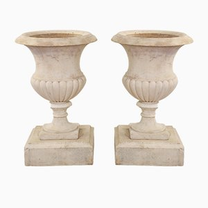 Urnas antiguas de mármol, década de 1860. Juego de 2