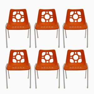 Orange Garden Plastic Chairs, 1970s, Set of 6