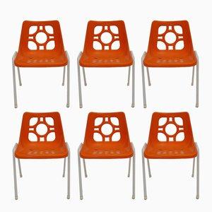 Sillas de jardín de plástico naranjas, años 70. Juego de 6