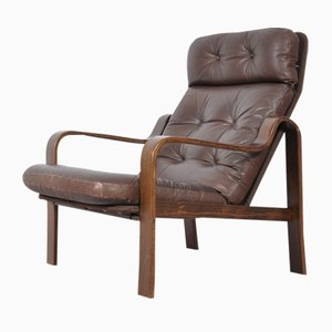 Mid-Century Rosewood, Leather, & Bentwood Armchair