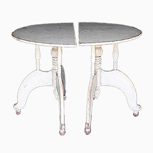 Antique Swedish Demi Lunes Side Tables, Set of 2