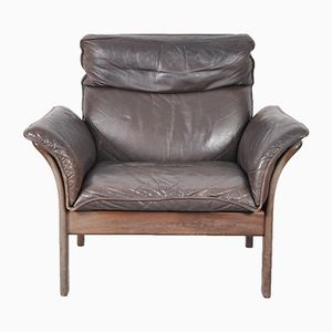 Vintage Norwegian Rosewood & Leather Armchair