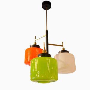 Italian Colored Opaline Glass Chandelier from Bruno Gatta for Stilnovo