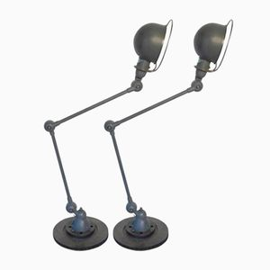 French Industrial Table Lamps with Two Arms from Jieldé, 1950s, Set of 2