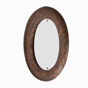 Vintage Hammered Bronze Oval Mirror by Angelo Bragalini