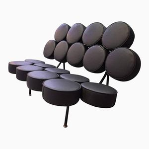Vintage Black Marshmallow Sofa by George Nelson