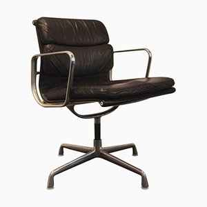 Vintage EA 208 Leather and Chrome Low Back Soft Pad Chair by Charles & Ray Eames for Vitra