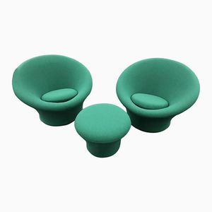 Green Mushroom Chairs & Stool by Pierre Paulin for Artifort, 1960s