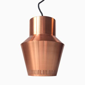 Danish Solid Copper Pendant Lamp from Fog & Morup, 1960s