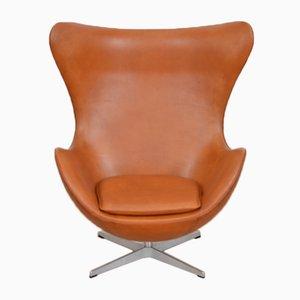 Mid-Century Egg Chair aus Leder von Arne Jacobsen für Fritz Hansen