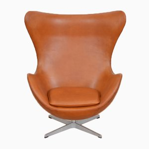 Mid-Century Leather Egg Chair by Arne Jacobsen for Fritz Hansen