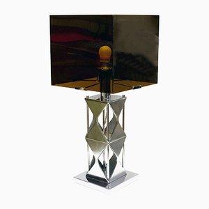 Lámpara de mesa de plexiglás ahumado y acero satinado, años 70