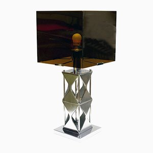 Smoked Plexiglas & Satin Steel Table Lamp, 1970s