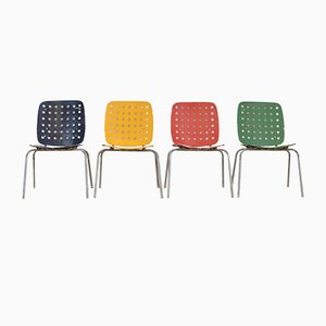 Sillas de jardín modelo 600 multicolor de Hans Coray para Kim. Juego de 4