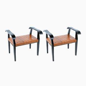 Taburetes italianos con asiento de cuero trenzado, años 40. Juego de 2