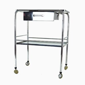 Vintage Cart with Glass Shelves and Rollers
