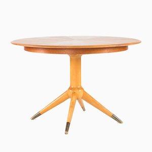 Tavolo da pranzo rotondo impiallacciato in teak di David Rosén per Nordiska Kompaniet, anni '50