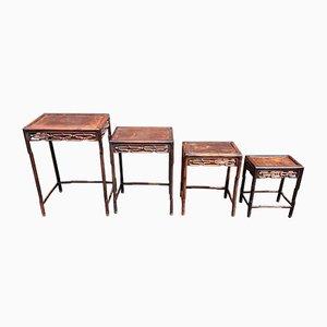Set di tavolini a incastro antichi in padouk