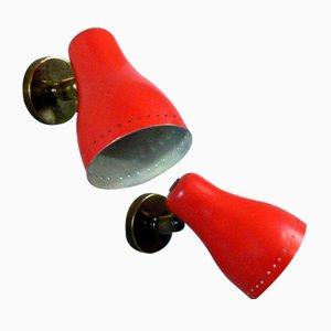 Lámparas de pared rojas de Pierre Guariche, años 50. Juego de 2