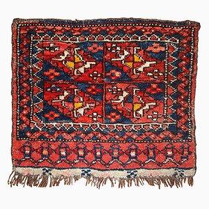 Antique Uzbek Handmade Bagface Rug, 1870s